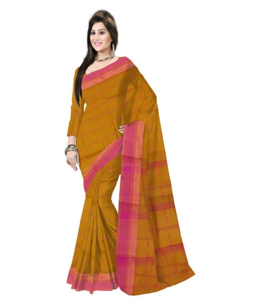 Pradip Fabrics Orange Bengal cotton Saree