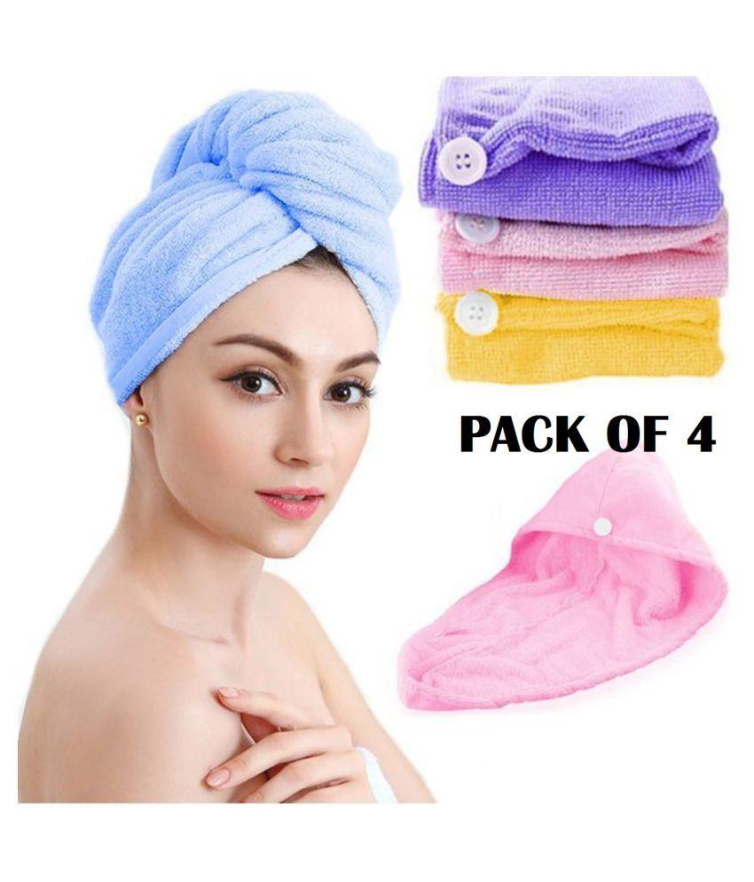 GLOBLE ENTERPRISE Microfiber Hair Wrap Towel Drying Bath Spa Head Cap Turban Wrap ( PACK OF 4 )