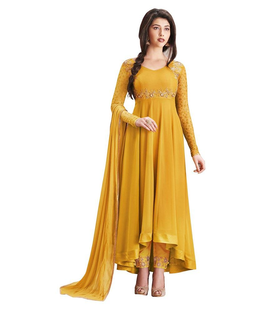 THE 9192 Yellow Georgette High Low Hemline Semi-Stitched Suit