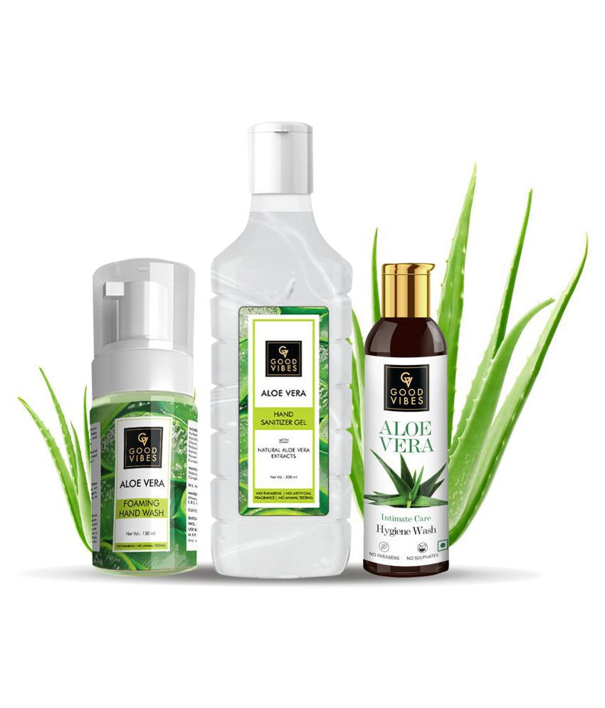 Good Vibes Aloe Vera Hygiene Kit (Intimate Care Hygiene Wash 100ml + Foaming Hand Wash 150ml + Hand Sanitizer 300ml)