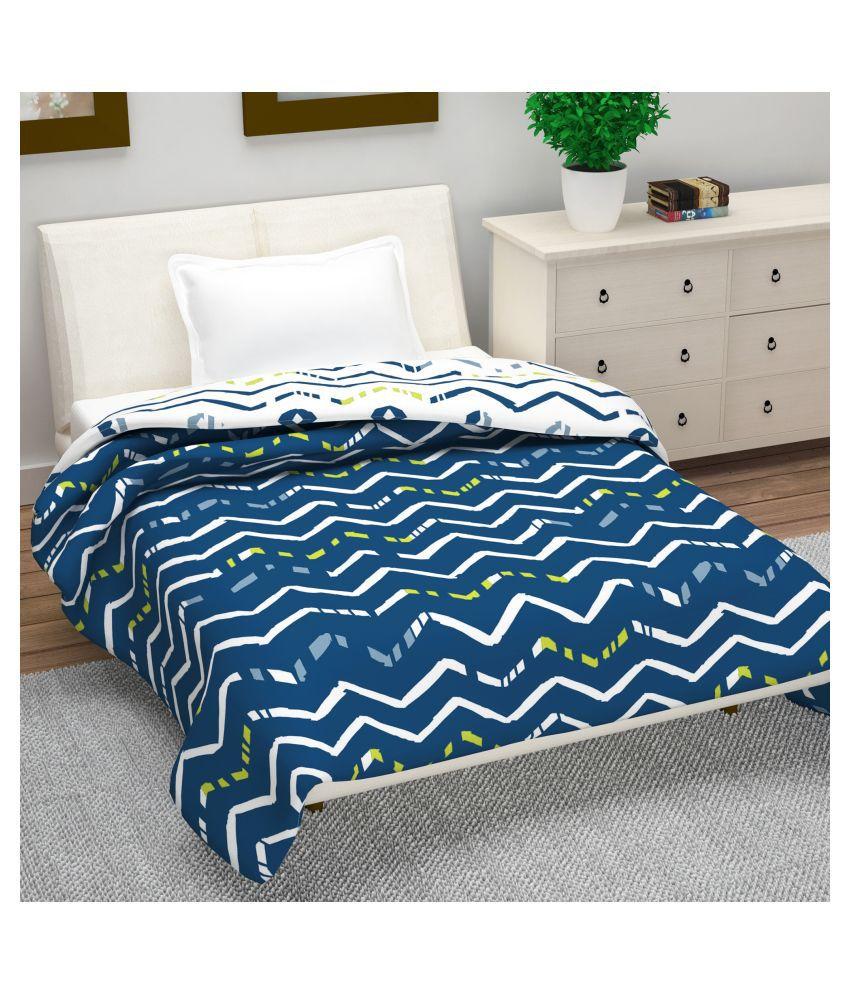 DIVINE CASA Single Polyester Blue Geometrical Dohar