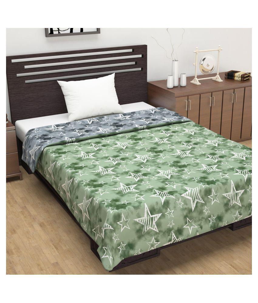 DIVINE CASA Single Polyester Green Abstract Dohar