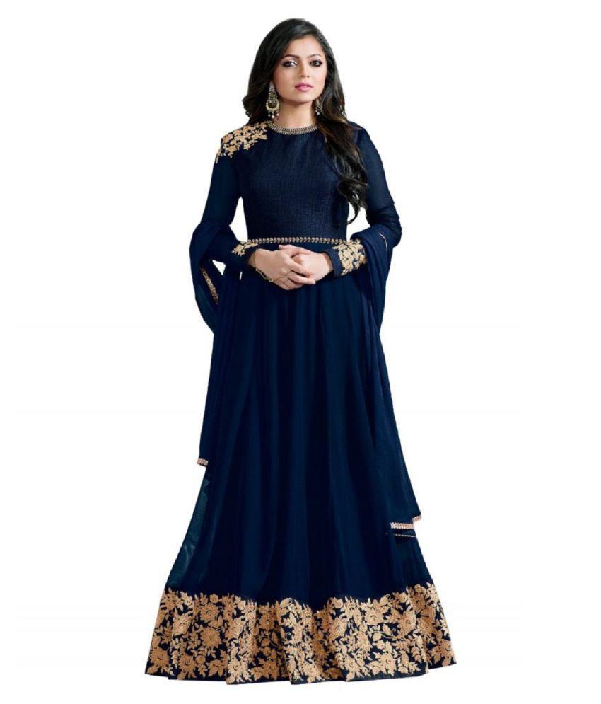 THE 9192 Blue Net Anarkali Semi-Stitched Suit