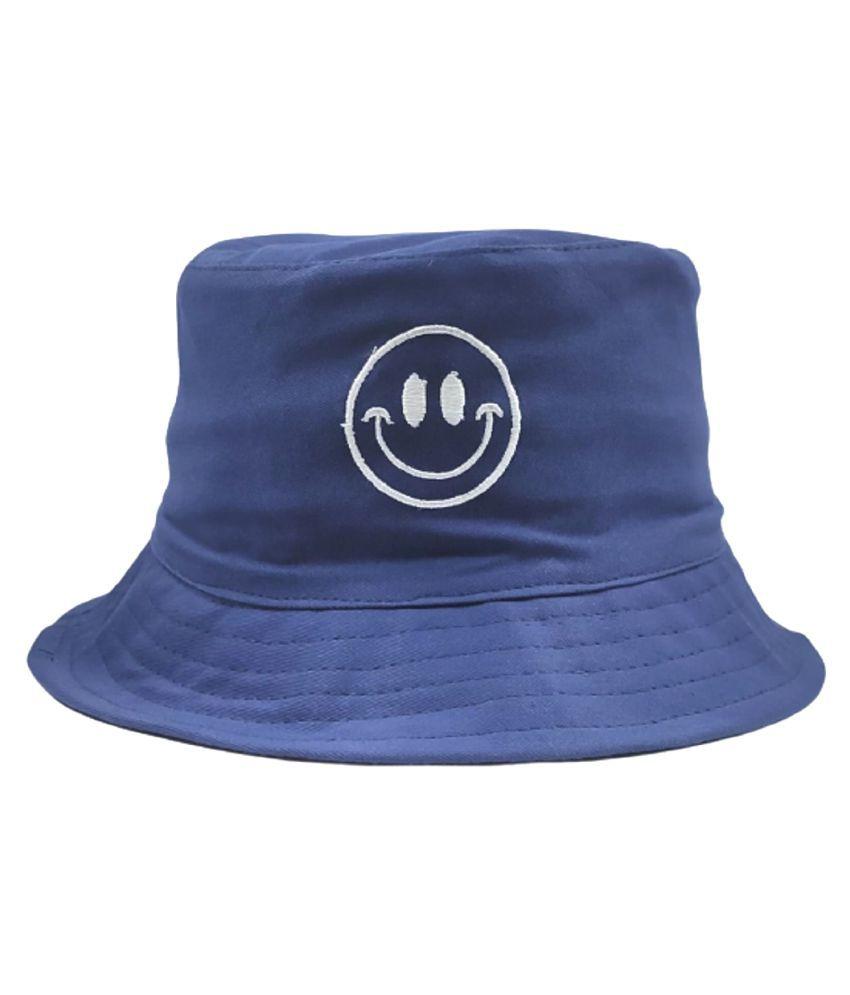 Unisex Cotton Fishermen Bucket Smiley Reversible Cap Hat