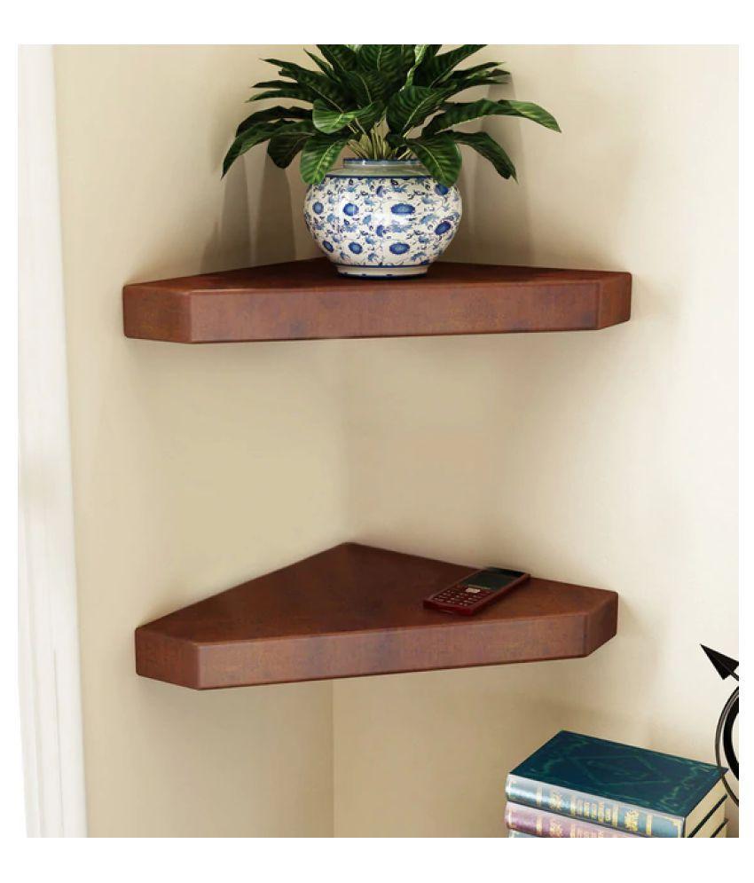 AYMH Brown Engineered Wood Edge Cut Corner Wall Shelves