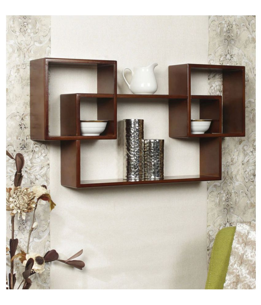 AYMH Set of 3 Engineered Wood Mozaic Wall Shelf in Brown Colour