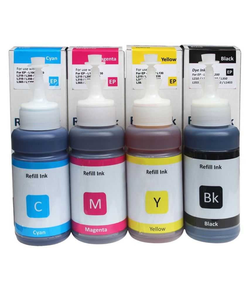 Dura Jet T664 Refill Ink Set Multicolor Pack of 4 Ink bottle for Epson L130, L360, L361, L565, L210, L220, L310, L365, L385, L455, L555, L605, L1300