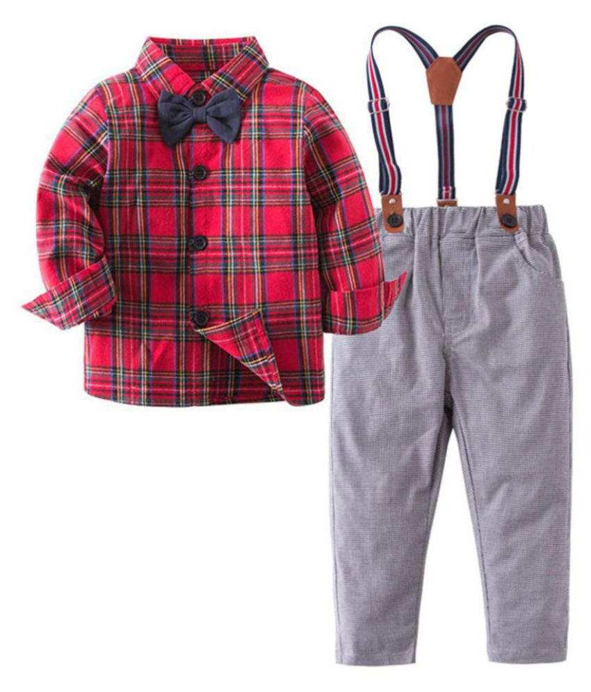 Hopscotch Boys Cotton And Polyester Checkered Print Full Sleeves Shirt With Suspender Pant And Bow in Red Color For Ages 4-5 Years (SN-2755377)