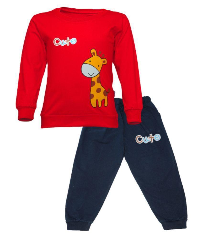 CATCUB Kids Cotton Cute Giraffe Printed Clothing Set (Red)