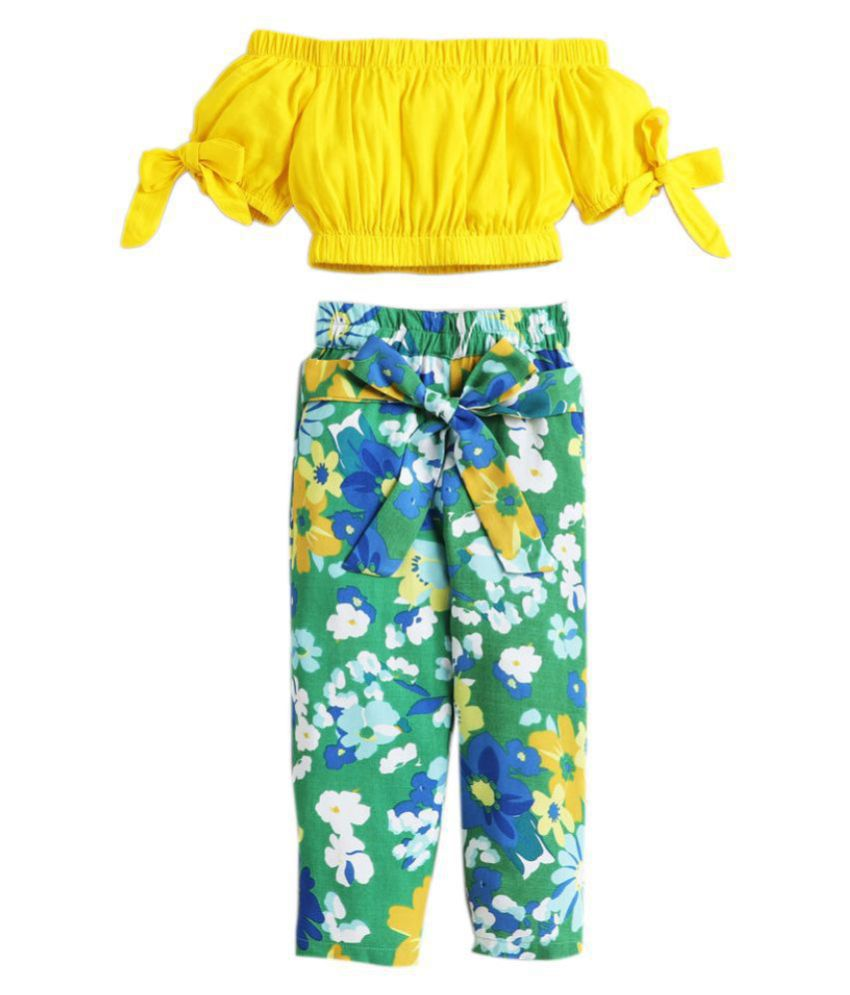 Hopscotch Girls Cotton Floral Printed Pant Set in Green Color For Ages 10-11 Years (0PT-3386494)