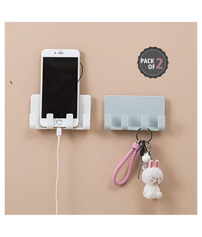 ROYAAL (Pack of 2) Mobile Holder for Home Wall Charging, Wall Mount Phone Holder, Wall Mobile Charging Holder, Wall Holder for Phone Charging Stand with Holder for Mobile and Tablet