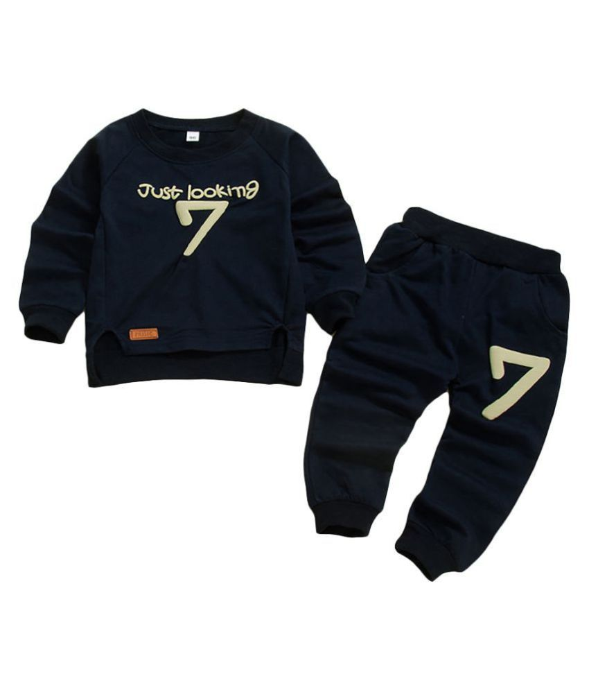 Hopscotch Boys Polyester And Cotton Full Sleeves Text Printed Sweatshirt And Jogger Set in Navy Color For Ages 2-3 Years (ZF-3232611)