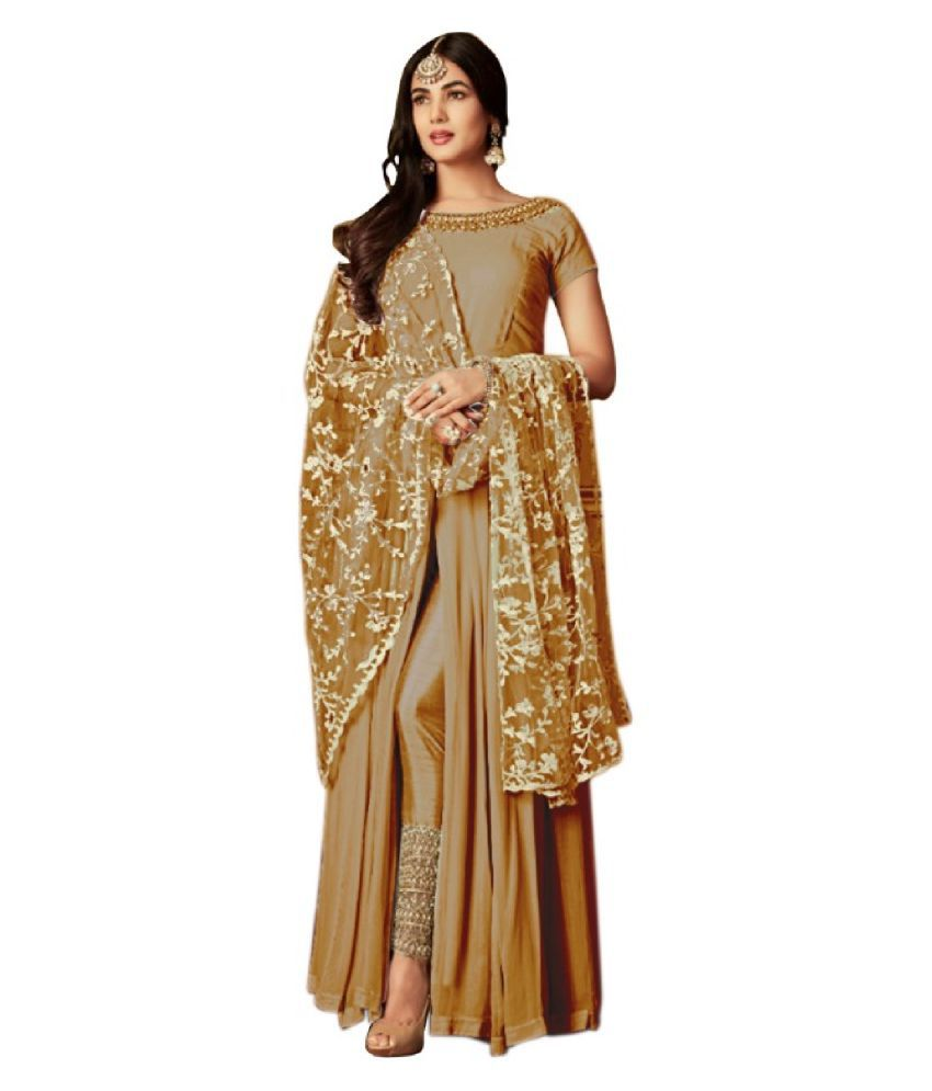 THE 9192 Beige Georgette Straight Semi-Stitched Suit