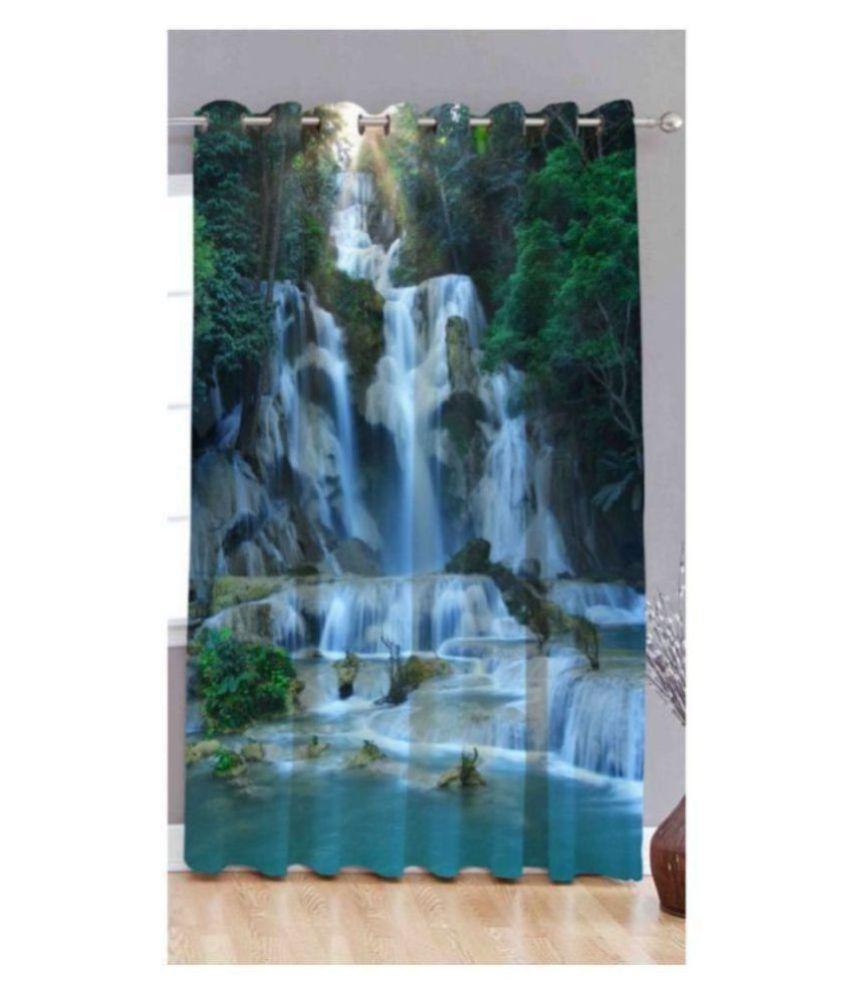 BM Creation Single Door Semi-Transparent Eyelet Polyester Curtains Light Blue