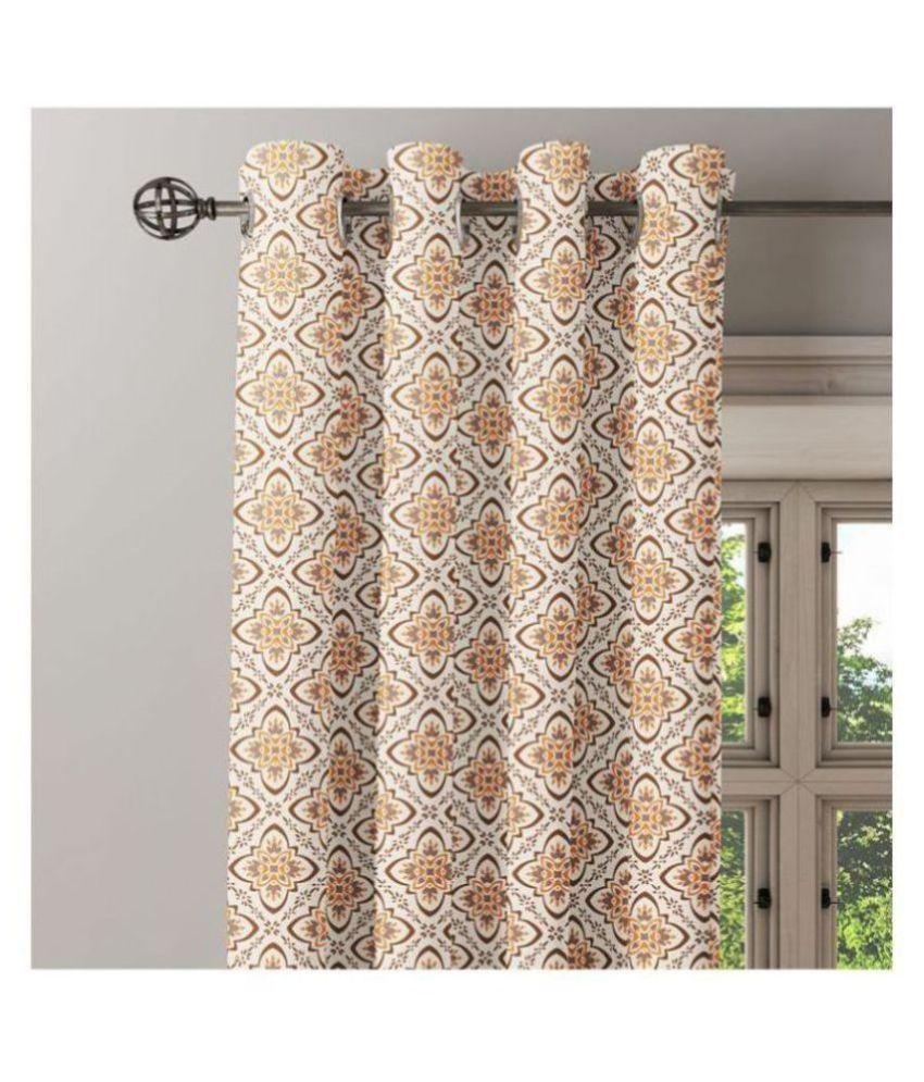 Ixora Decor Set of 2 Window Eyelet Cotton Curtains Brown