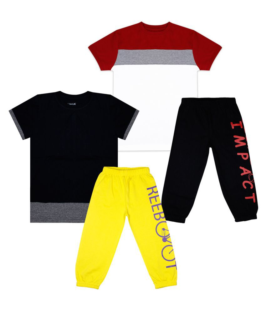 Luke and Lilly Boys Pack Of 2 Cotton Colorblock T-shirts with Trackpant