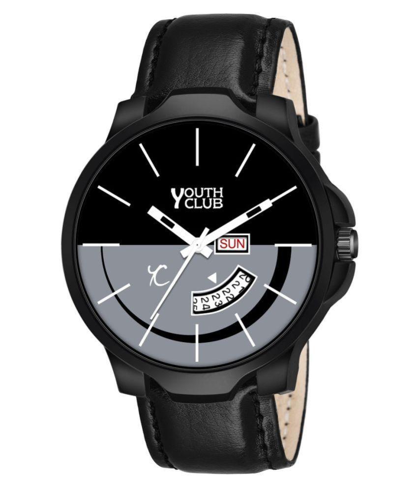 YOUTH CLUB DDSM BLK Leather Analog Men #039;s Watch