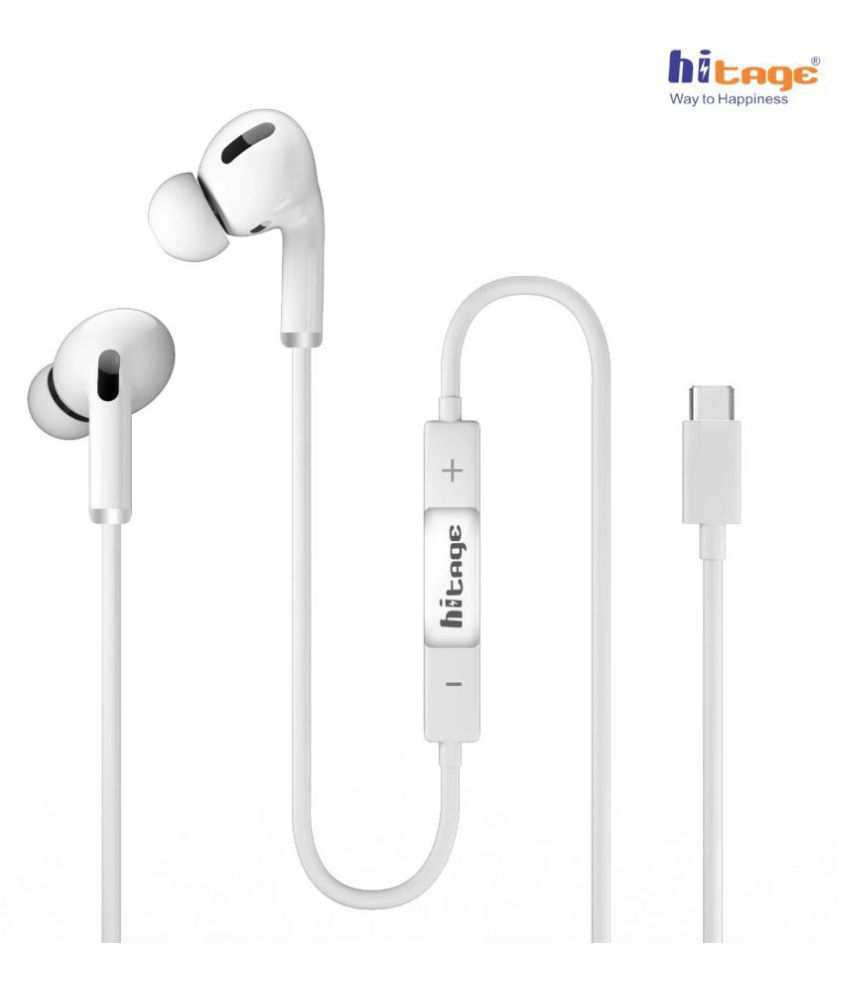 hitage Type C Wired Mobile Earphones In Ear Wired With Mic Headphones/Earphones