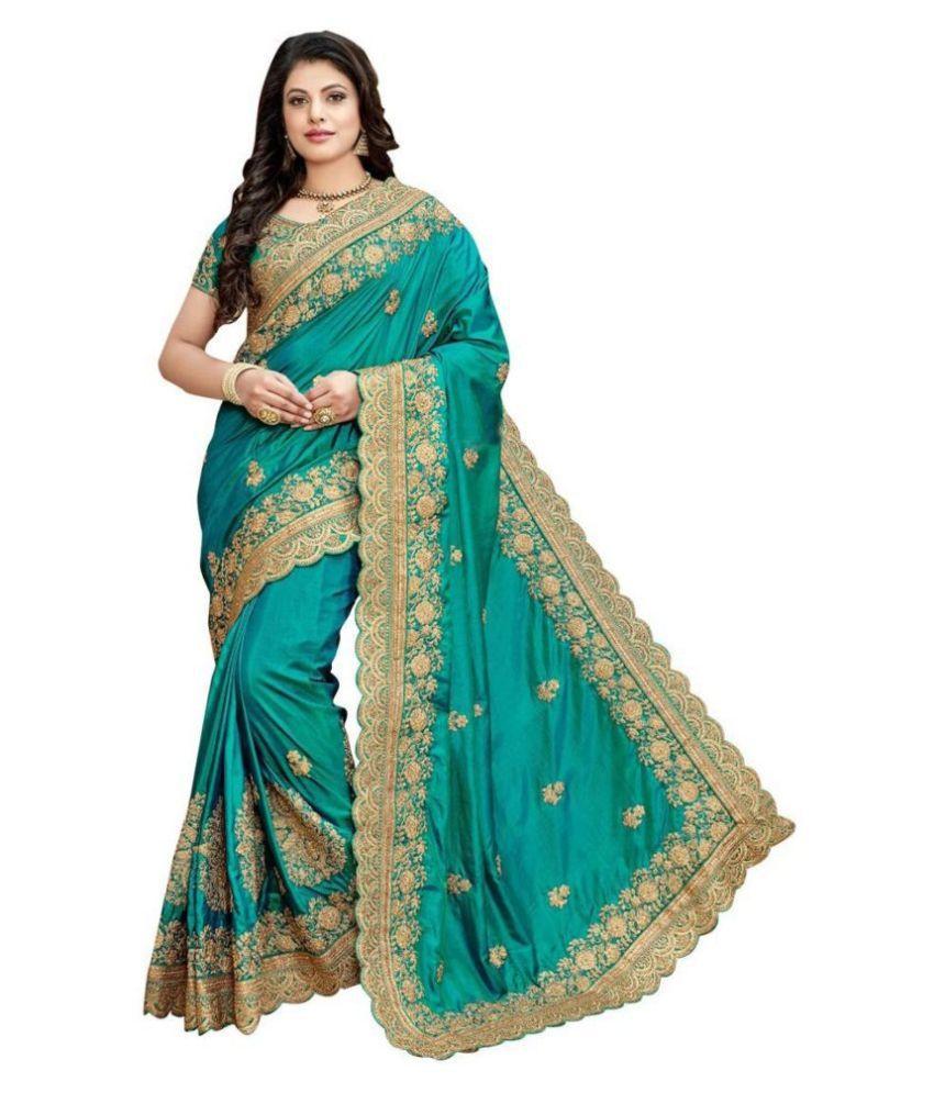 BILRIZA Green Silk Saree