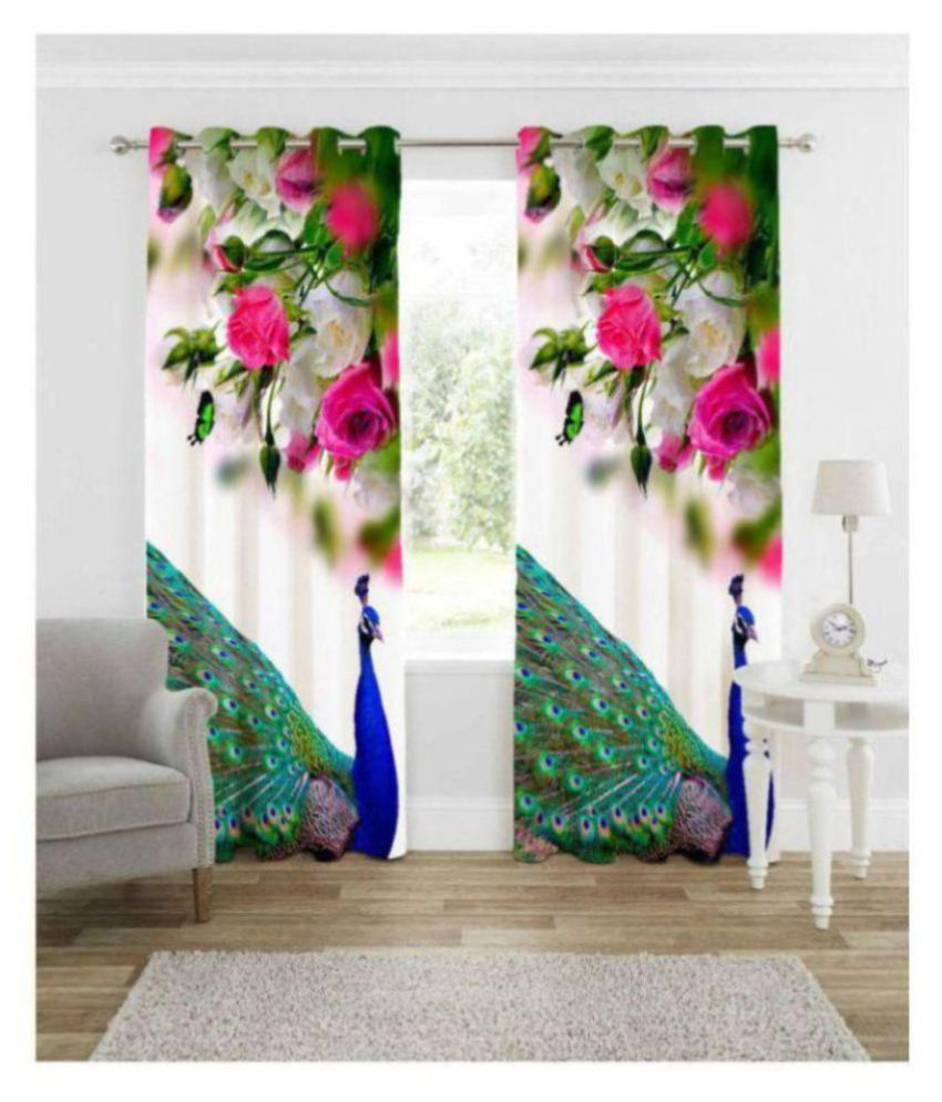 Fashion Alley Set of 2 Window Semi-Transparent Eyelet Polyester Curtains Multi Color