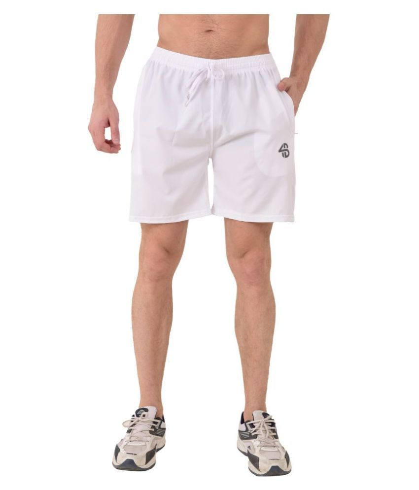 Forbro White Polyester Lycra Fitness Shorts Single