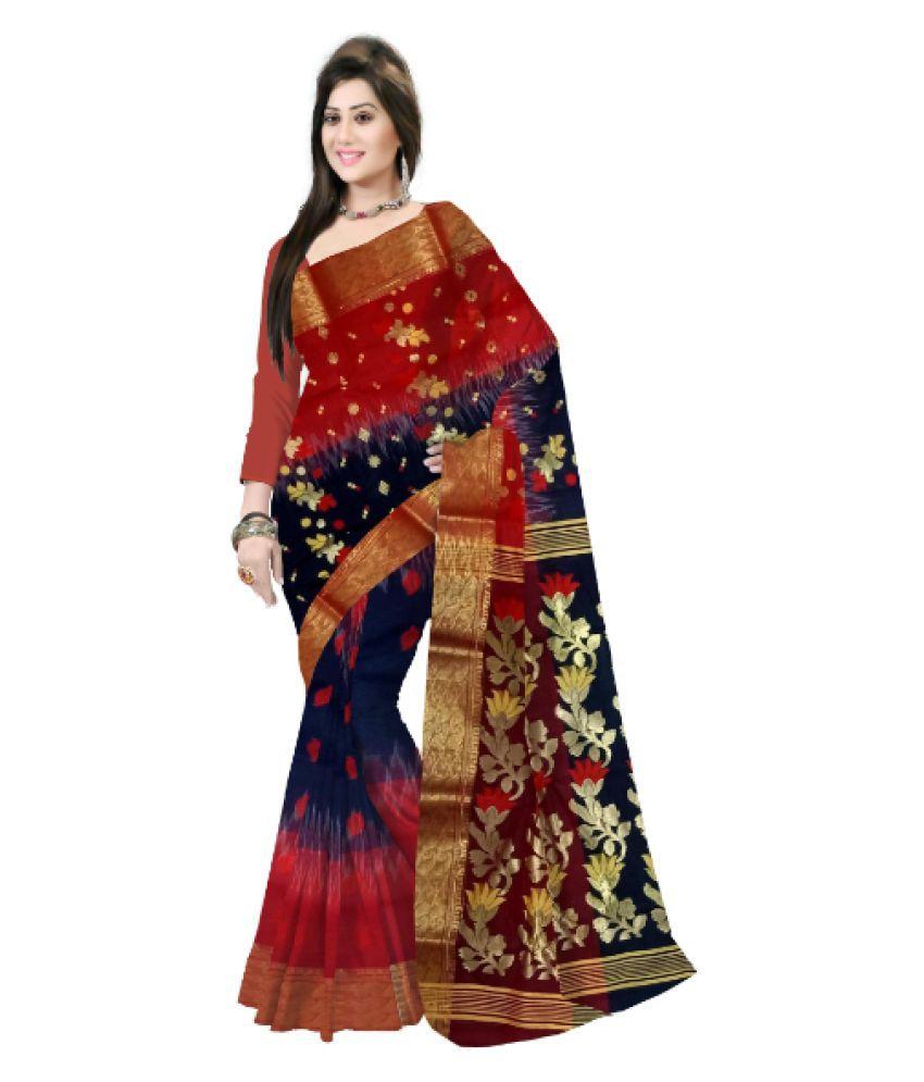 Pradip Fabrics Black,Red Bengal Handloom Saree