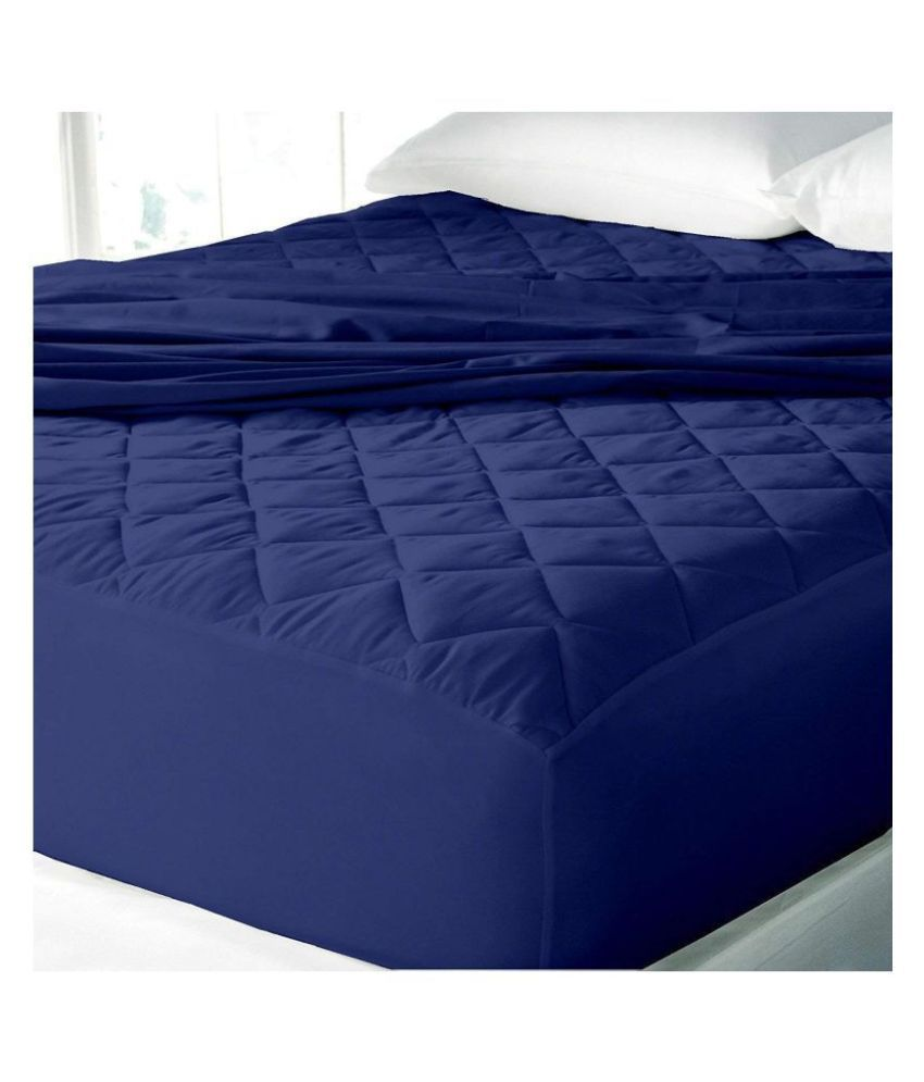 LoomStar Elastic Fitted King Blue Quilted Mattress Protector