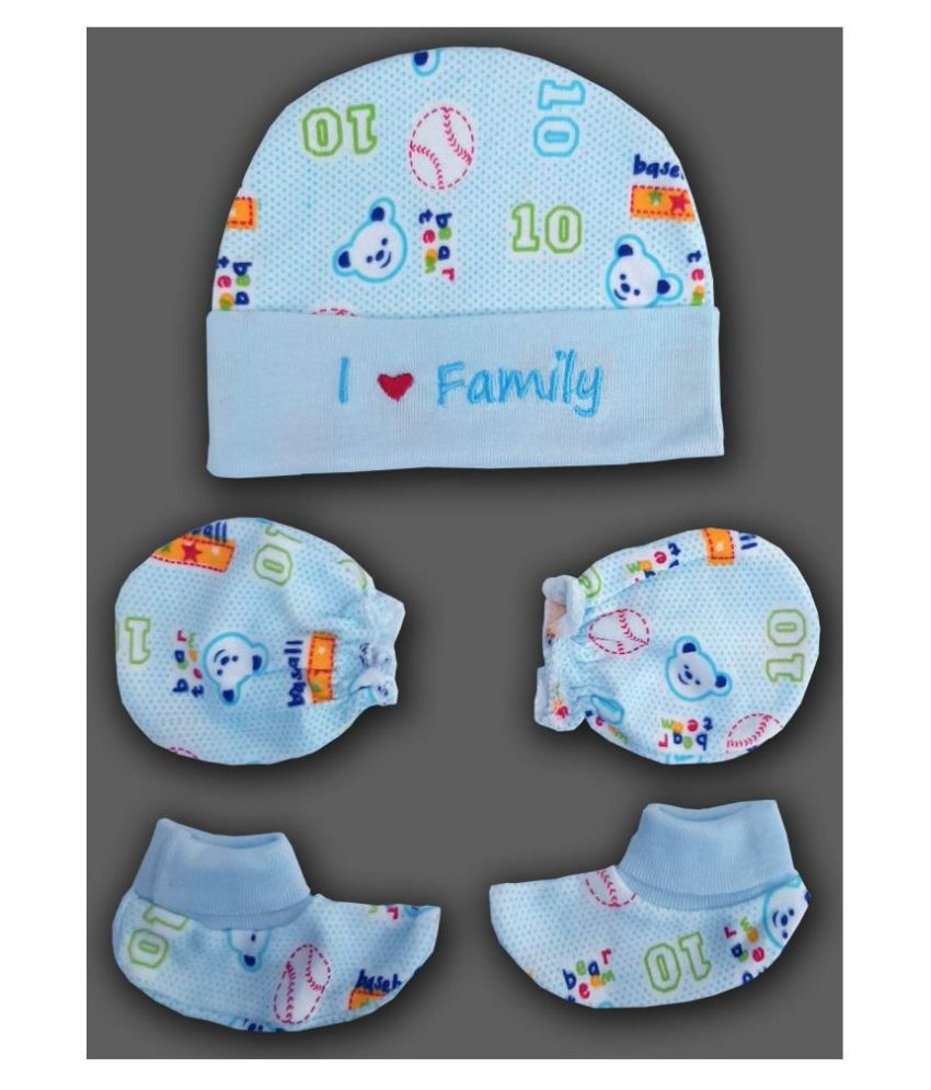 little whiskey Newborn Baby Printed Cotton Caps Mittens Booties Multicolor Set Pack of