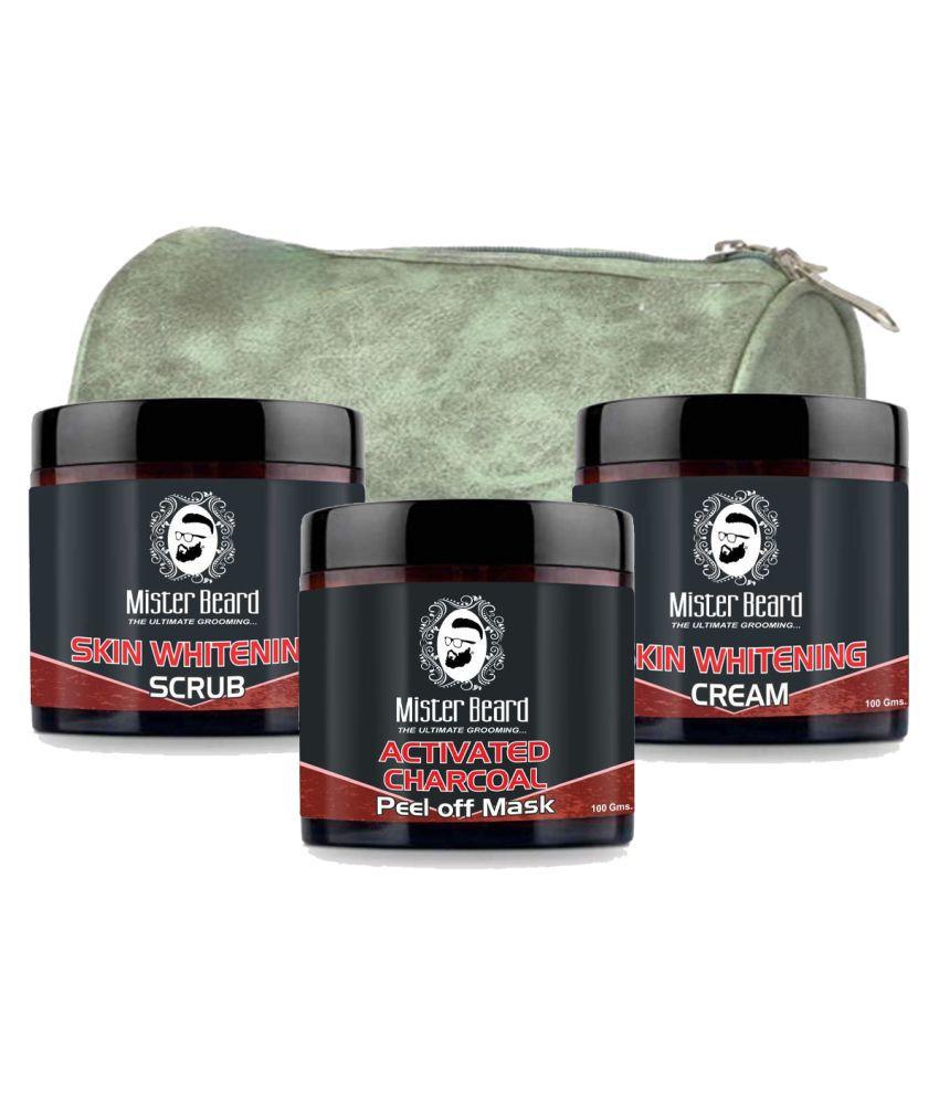MISTER BEARD Skin Whitening Cream,Charcoal Face Pack Free Bag And Skin Whitening Facial Scrub 100 g Pack of 3