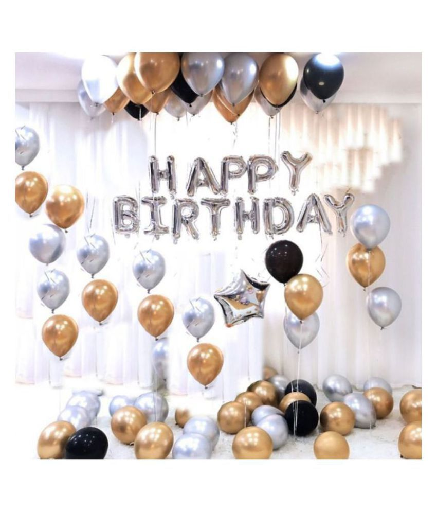 Happy Birthday Letter Foil Balloon Set of Silver + Pack of 51 HD Metallic Balloons (Gold, Black and Silver)