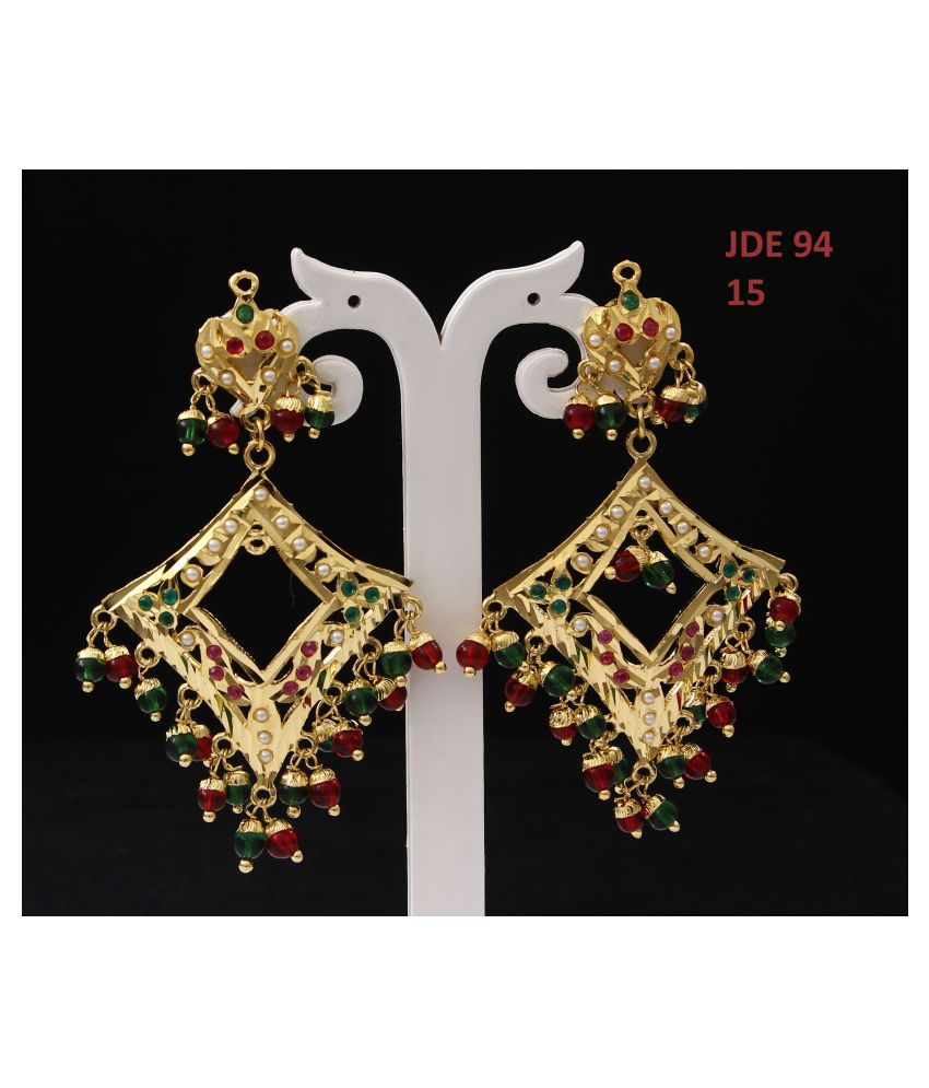 JewlryGift Ethnic Dangle Drop Earrings 18K Gold Plated Pearl, Ruby, Emerald Latest Stylish Fashion Jewellery for Girls and Women