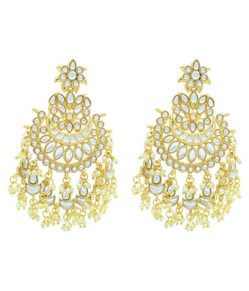 ALLEX Pachi Kundan Chandbali Long Gold Plated Earrings