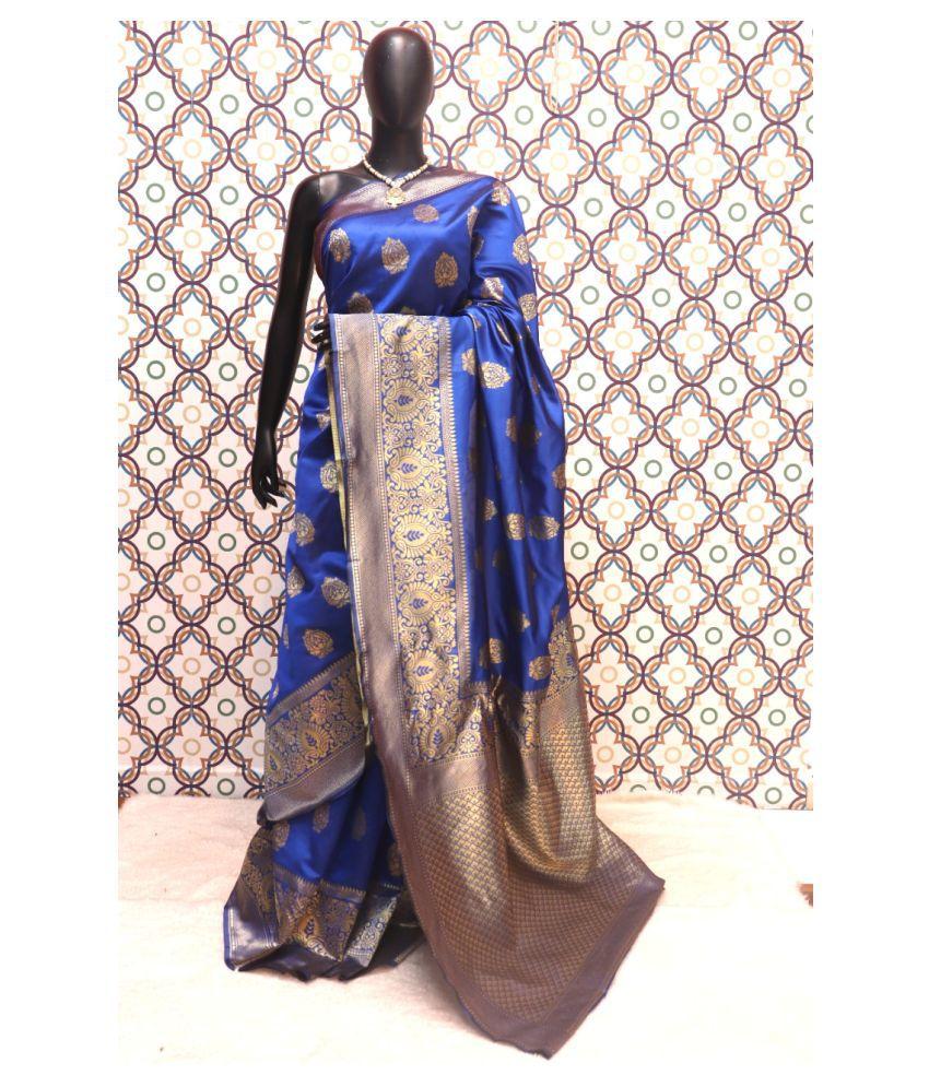 SSP TEX Blue Art Silk Saree - Single