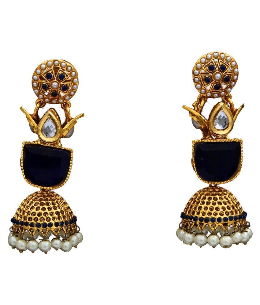 Dangle Earrings 18K Gold Plated Pearl Studded Pearl Elegant Ethnic Dangle Earrings 18K Gold Plated Pearl Studded for Sister Wife Elegant Ethnic