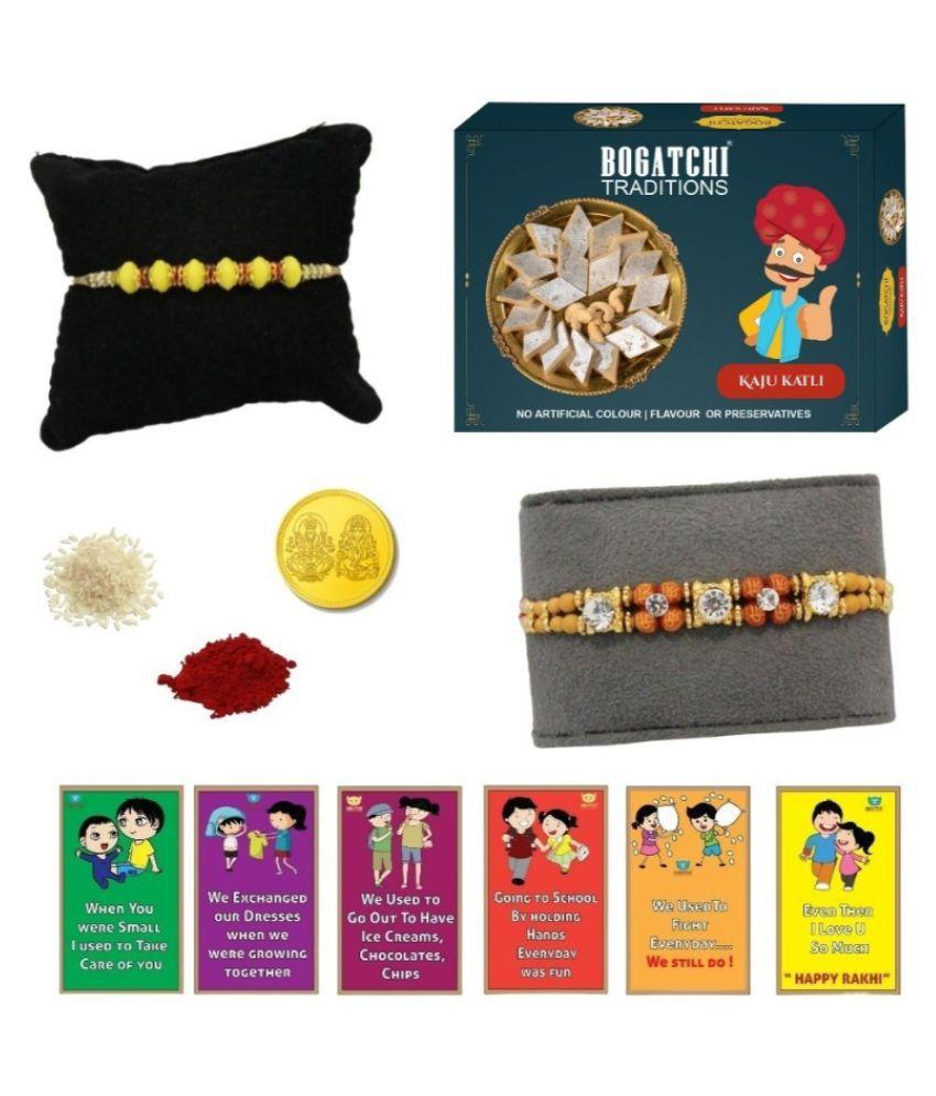 BOGATCHI Assorted Box Rakhi Gift for Brother Rakhi with Sweets 200 gm