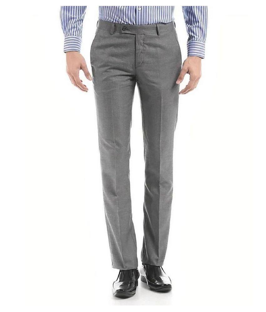 FOI Grey Regular -Fit Flat Trousers