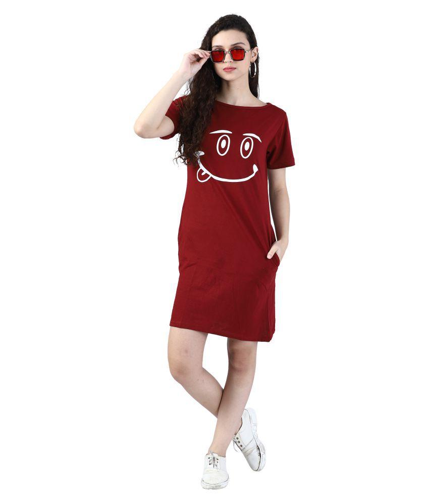 Broadstar Cotton MAROON Bodycon Dress - Single