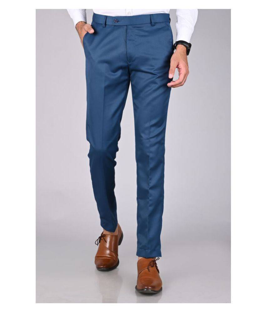 MANCREW Blue Slim -Fit Flat Trousers Single