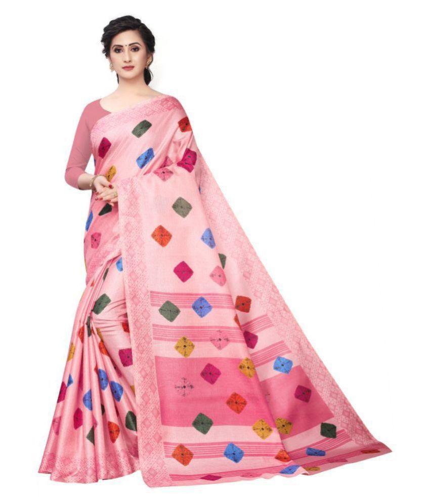 Bhakarwadi Pink Art Silk Saree - Single