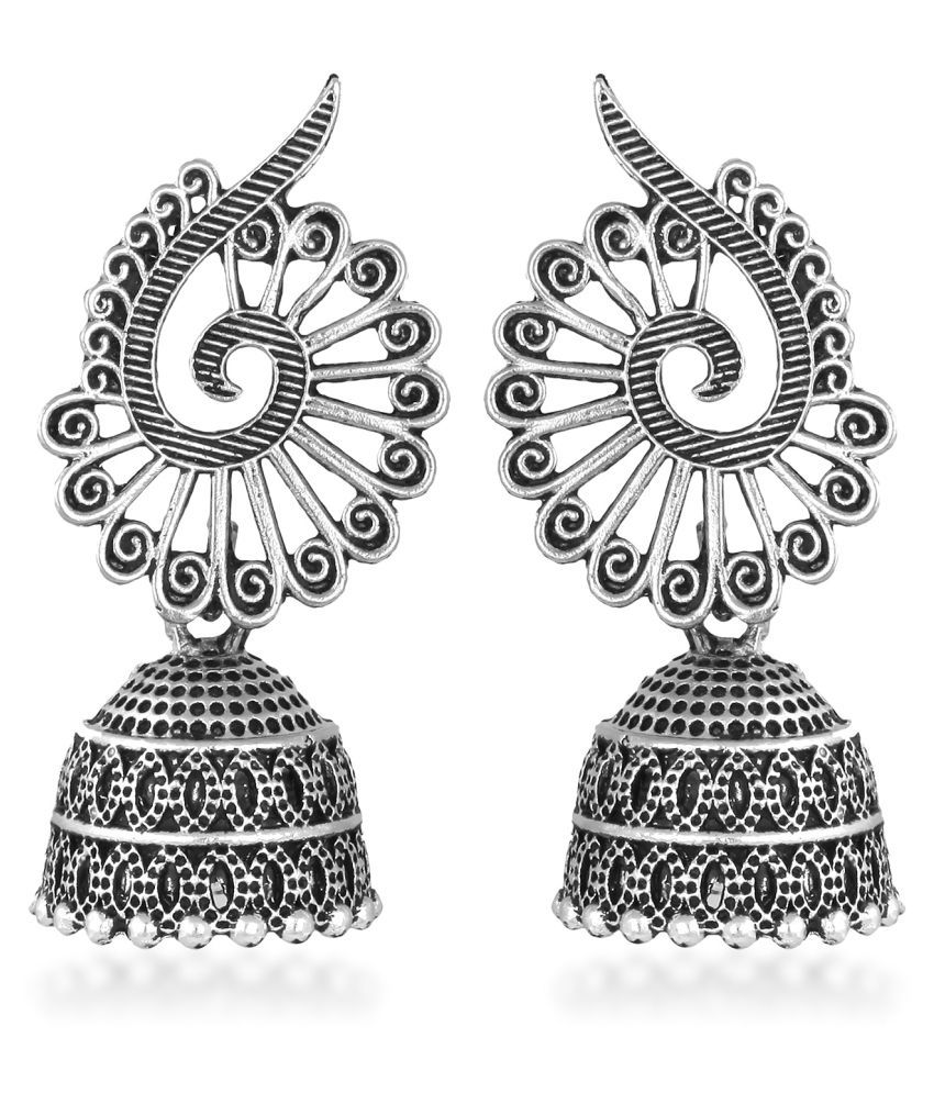 VK Fashion Jewels Charming Peacock Design Oxidised Alloy Jhumki Earring for Women and Girls
