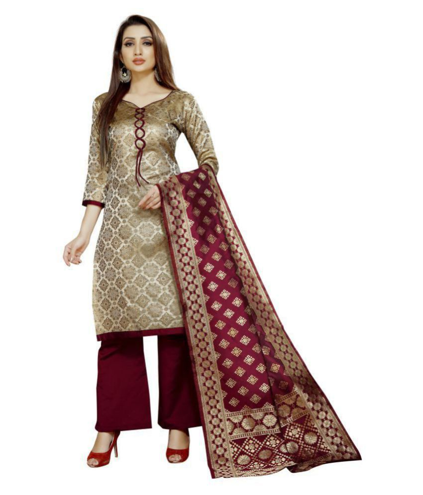 INDIAN BEAUTIFUL Beige Brocade Unstitched Dress Material
