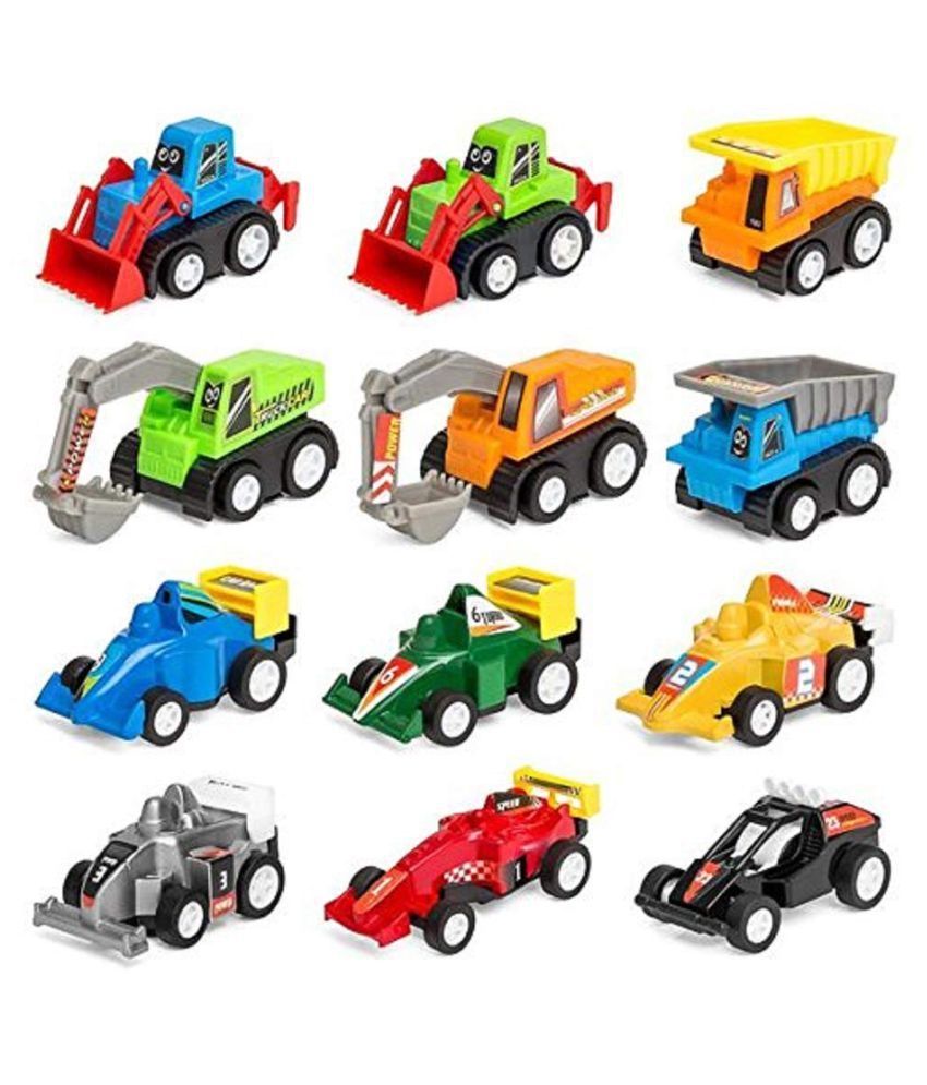 Mini Pull Back Cars Construction Vehicles and Truck Model Racing Games Vehicle Play Set Toys for Kids (12 Pcs) (12 Pcs Combo Trucks and Cars) Brand: Clickedia