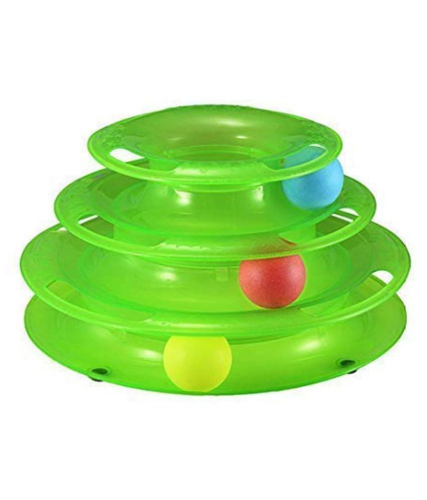Emily Pets Interactive Tower Of Tracks With Colourful Balls For Cats Toy |3 Levels | Green Color
