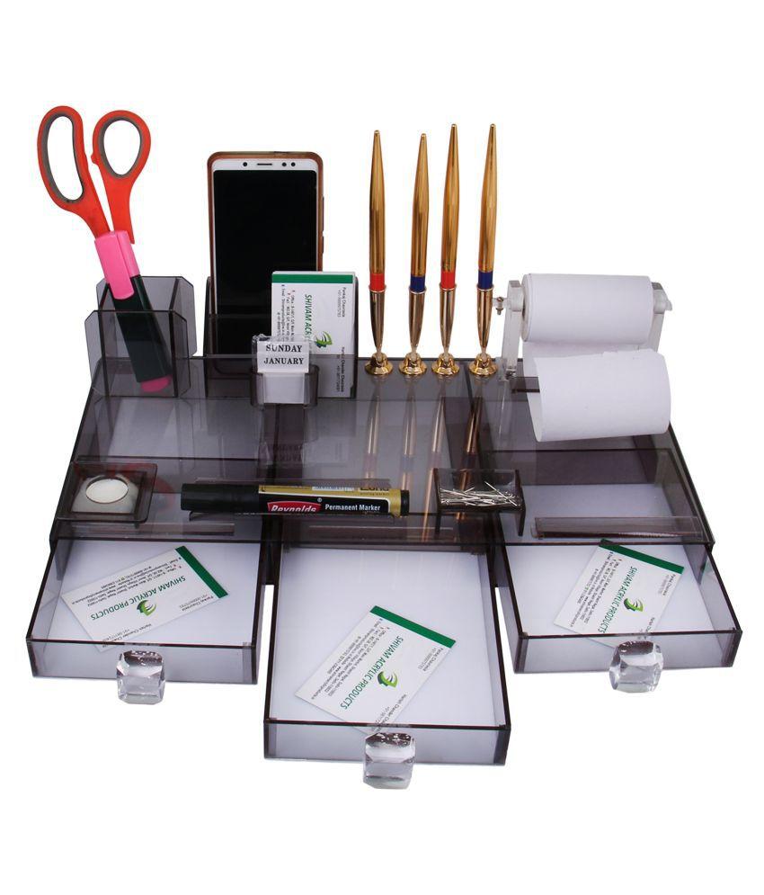 Rasper Multipurpose Acrylic Office Desk Pen Stand For Officers Desk Organizer With Drawers Pen Holder Stationery Desktop Organiser (16x8 Inches)