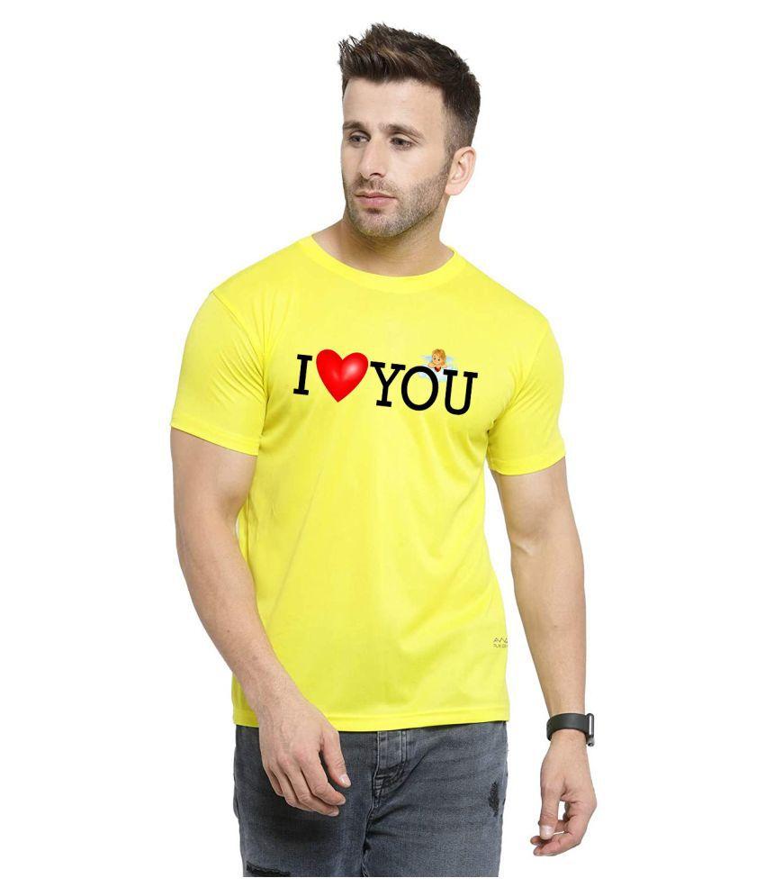QAMASH Polyester Yellow Printed T-Shirt