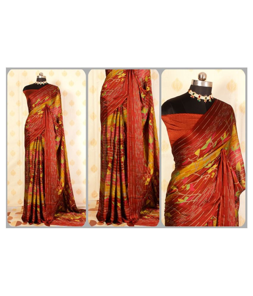 mahalaxmi fab Red,Yellow Raw Silk Saree