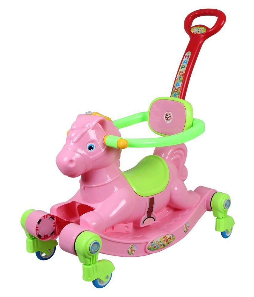 EZ' Playmates Happy Horse rocker cum manual push-pull ride on with navigator - Pink