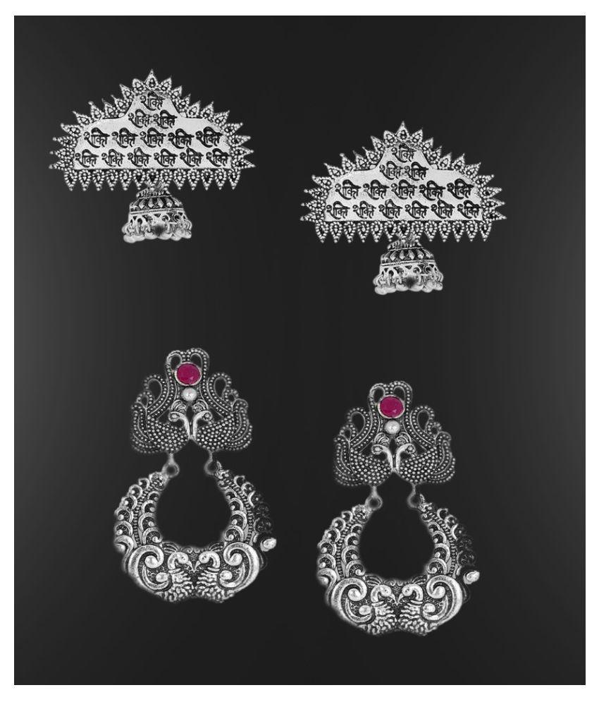 Fabula Jewellery Combo of 2 Oxidised Silver Shakti Mantra & Peacock Design Ethnic Drop Earrings for Women & Girls