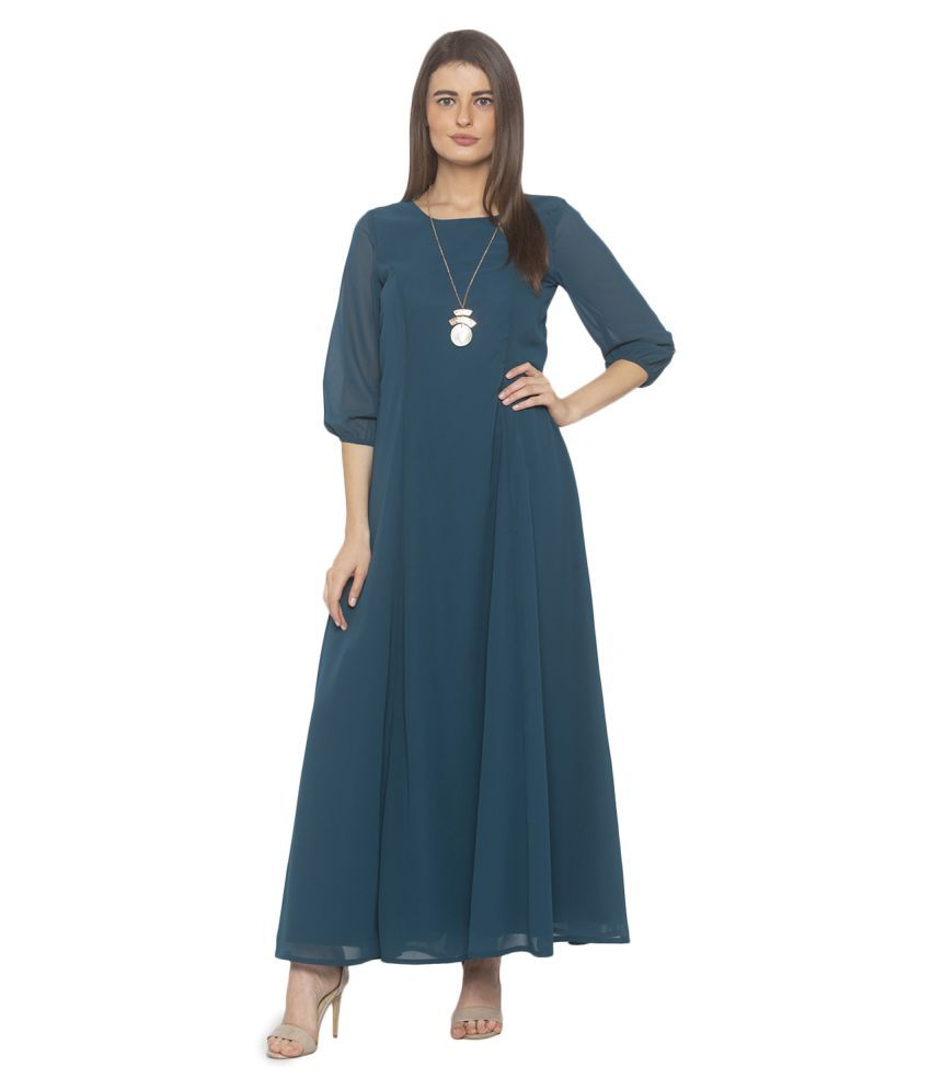 ITI Georgette Green Fit And Flare Dress