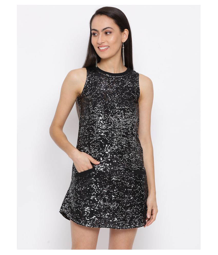 DRAAX Fashions Polyester Black Fit And Flare Dress